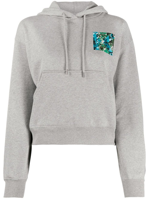 KENZO WOMEN'S FLORAL PATCH COTTON HOODY