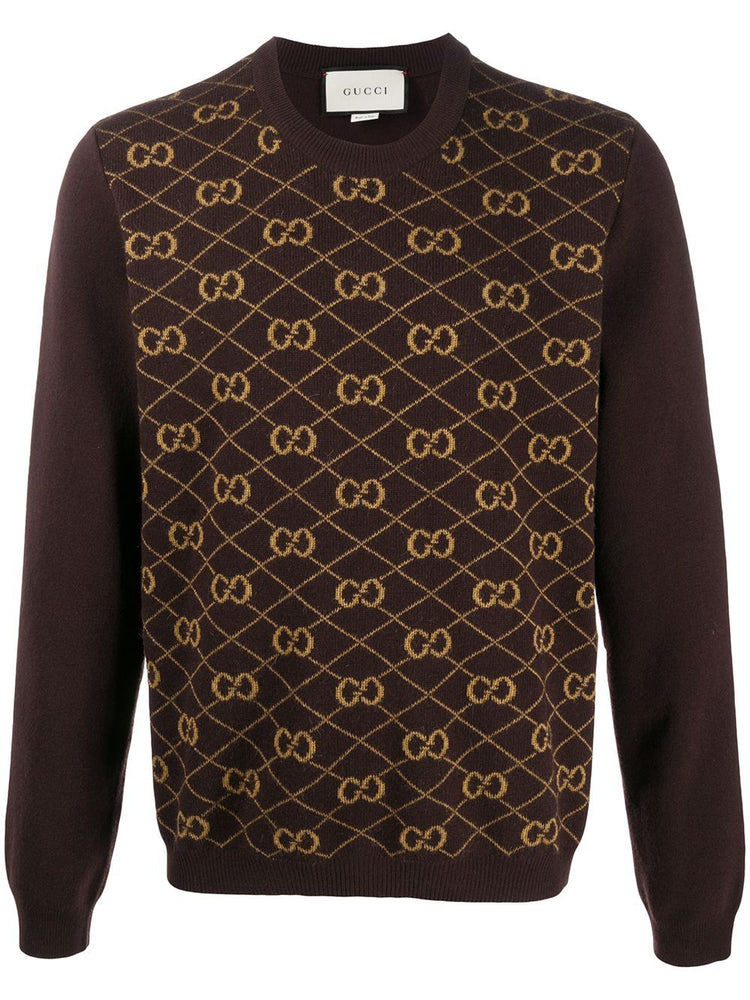 GUCCI MEN'S GG JACQUARD WOOL SWEATER