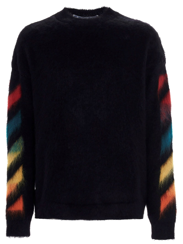 OFF-WHITE MEN'S MULTICOLOR MOHAIR DIAG STRIPE SWEATER