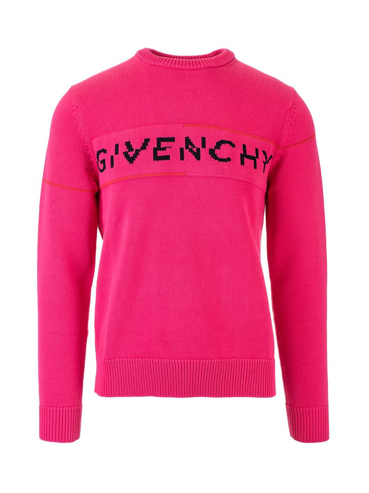GIVENCHY MEN'S FUSCHIA COTTON SWEATER