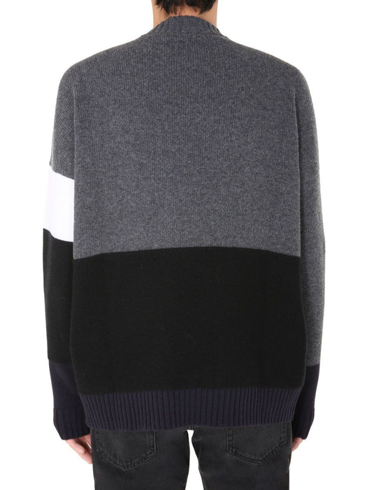 OFF-WHITE MEN'S BLOCK-PANEL KNITTED SWEATER