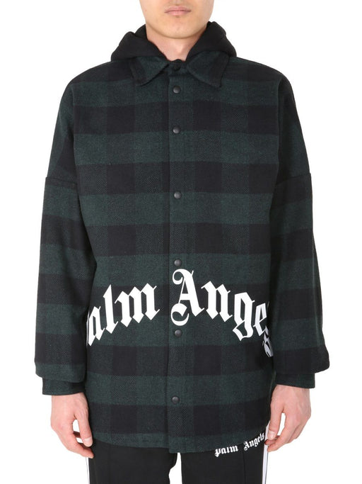 PALM ANGELS MEN'S PLAID HOODED JACKET