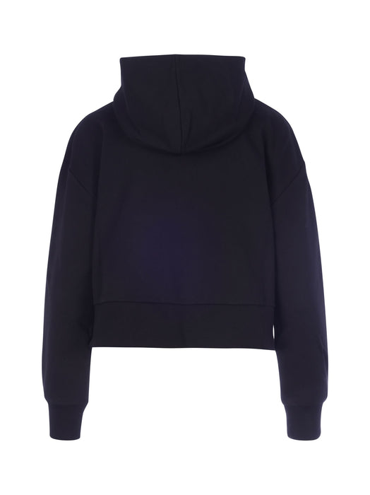 BALMAIN WOMEN'S BEDAZZLED CROPPED COTTON HOODY