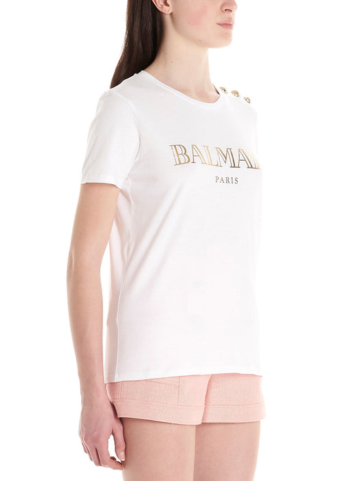 BALMAIN WOMEN'S COTTON T-SHIRT - WHITE W/ GOLD