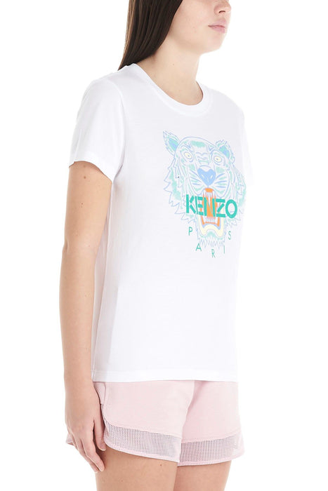 KENZO WOMEN'S TIGER EMBROIDERED COTTON T-SHIRT