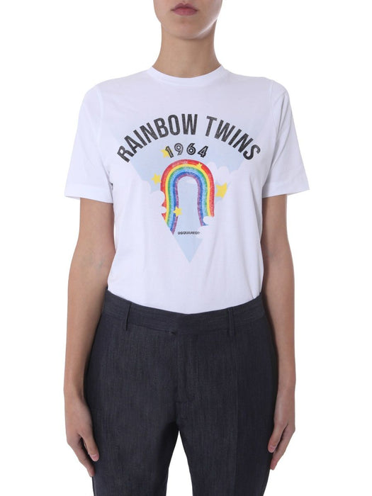DSQUARED2 WOMEN'S RAINBOW TWINS T-SHIRT