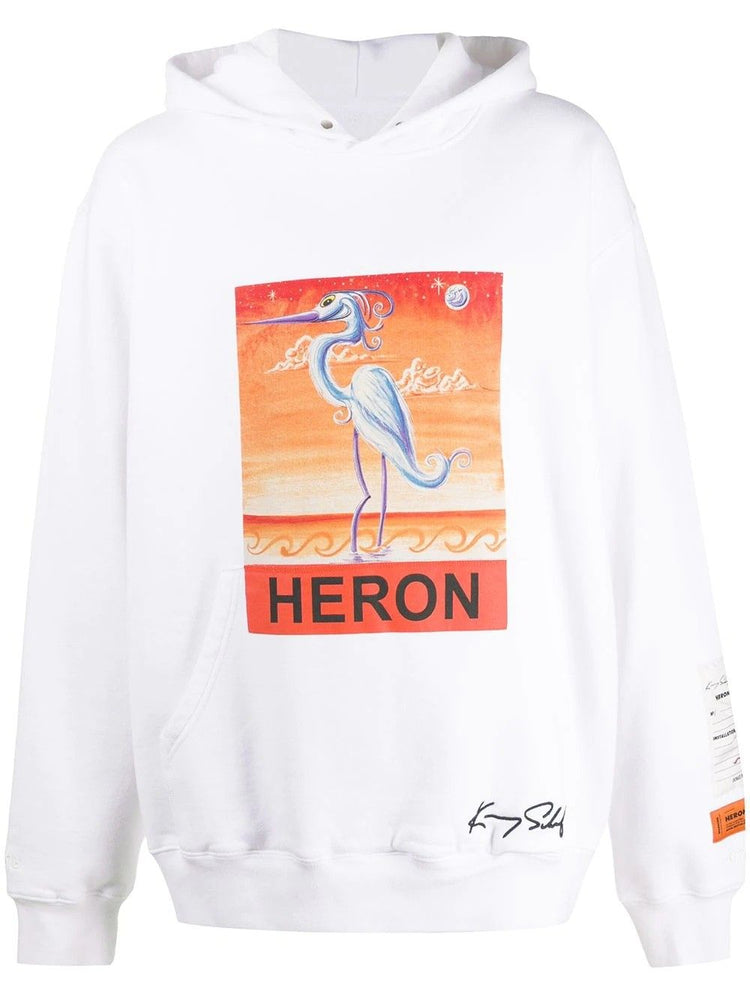 HERON PRESTON MEN'S BIRD GRAPHIC PRINT HOODY