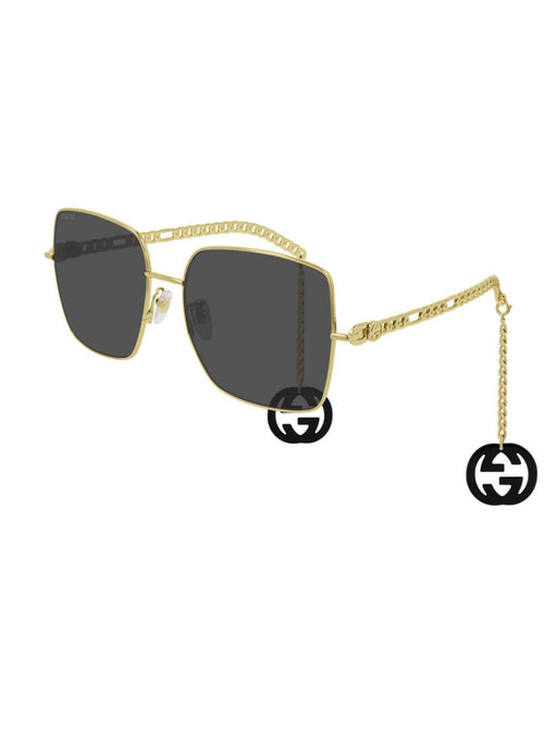 GUCCI WOMEN'S SQUARE FRAME METAL SUNGLASSES WITH GG CHAIN
