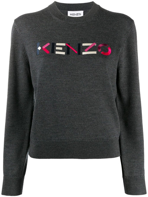 KENZO WOMEN'S EMBROIDERED LOGO WOOL CREW NECK