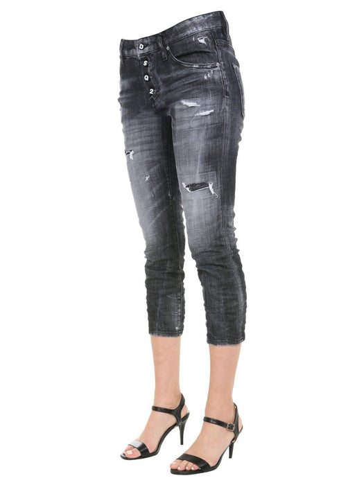 DSQUARED2 WOMEN'S RIPPED CROPPED JEANS