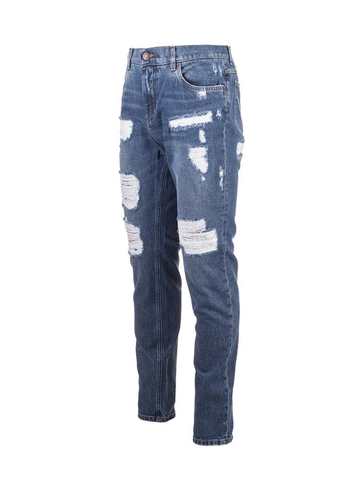 DOLCE & GABBANA MEN'S FULL RIPPED JEANS