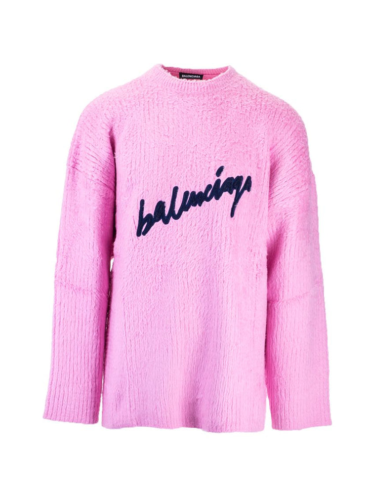 BALENCIAGA MEN'S PINK SCRIBBLE COTTON SWEATER