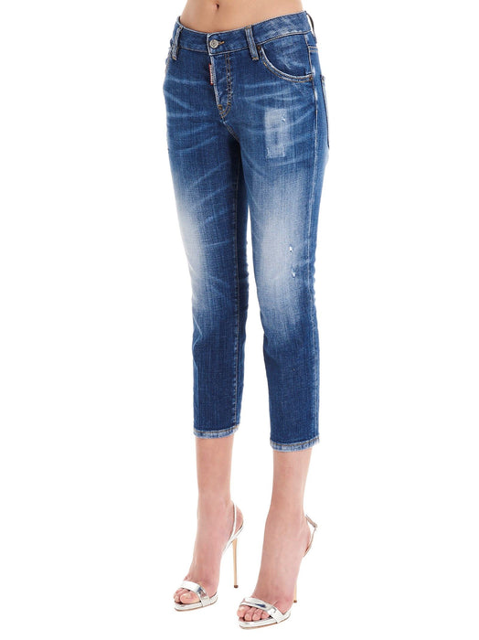 DSQUARED2 WOMEN'S BLUE WASH CAPRI JEANS