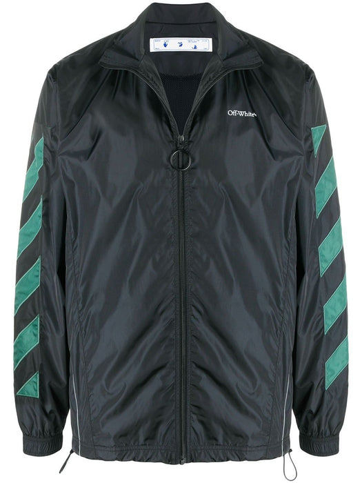 OFF-WHITE MEN'S DIAGONAL STRIPE-EMBELLISHED JACKET