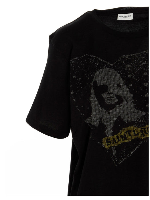SAINT LAURENT WOMEN'S HEART JACQUARD T-SHIRT