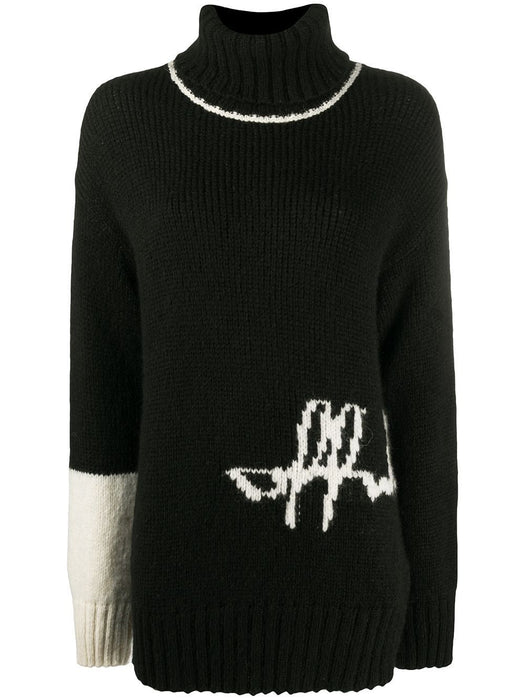 OFF-WHITE WOMEN'S INTARSIA-KNIT LOGO SWEATER