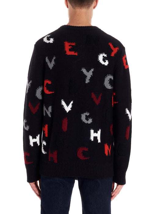 GIVENCHY MEN'S SCATTERED LOGO WOOL SWEATER