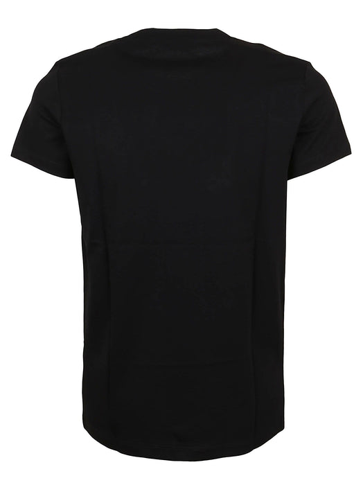 BALMAIN MEN'S BLACK COTTON T-SHIRT WITH SILVER METALLIC PRINT