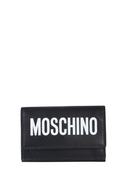 MOSCHINO MINI LEATHER WALLET WITH LOGO