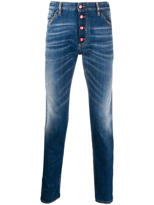 DSQUARED2 MEN'S BLUE BUTTON DOWN JEANS
