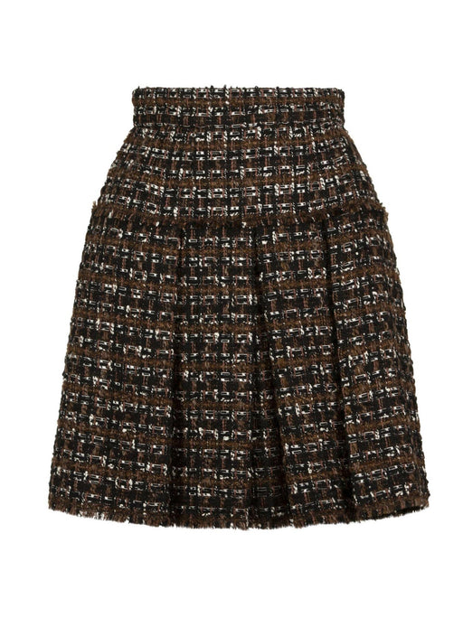 DOLCE & GABBANA WOMEN'S PLEATED TWEED SKIRT