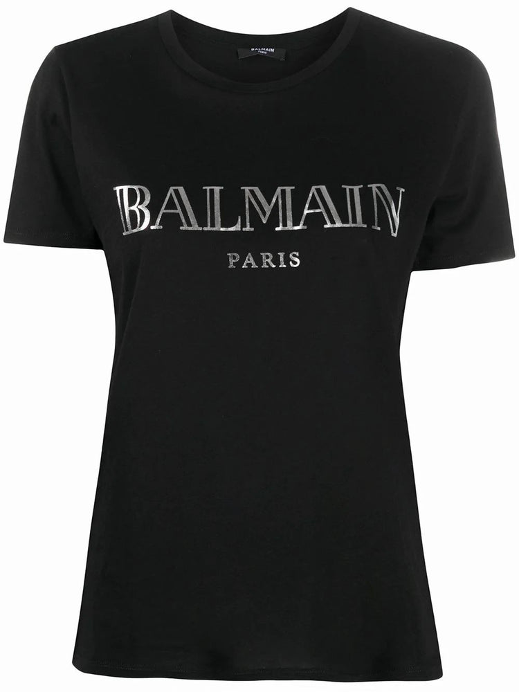 BALMAIN WOMEN'S LOGO PRINT COTTON T-SHIRT