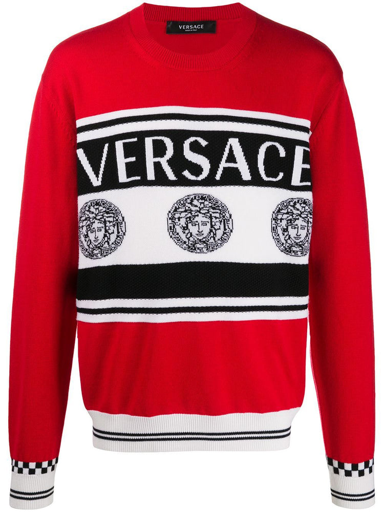 VERSACE MEN'S LOGO INTARSIA KNITTED WOOL SWEATER