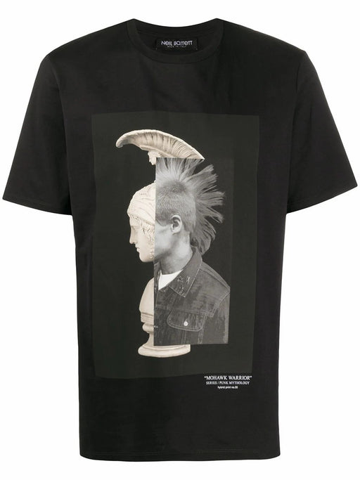NEIL BARRETT MEN'S MOHAWK WARRIOR  COTTON T-SHIRT