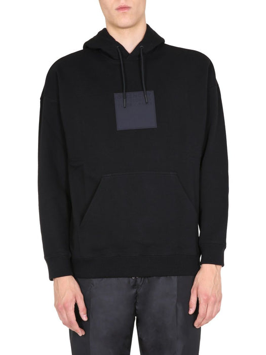 GIVENCHY MEN'S SQUARE LOGO PATCH HOODY
