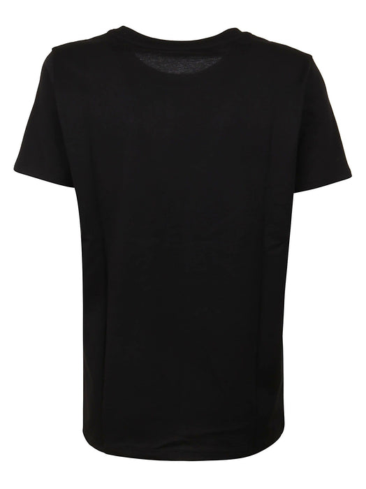 BALMAIN WOMEN'S BLACK COTTON T-SHIRT WITH WHITE BALMAIN LOGO