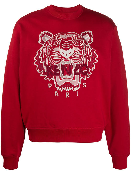 KENZO MEN'S TIGER EMBROIDERED COTTON SWEATSHIRT - RED