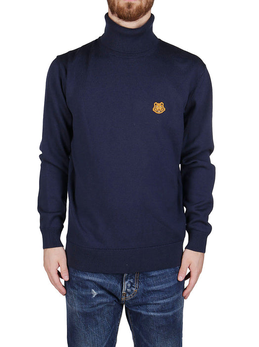 KENZO MEN'S EMBROIDERED LOGO PATCH WOOL SWEATER