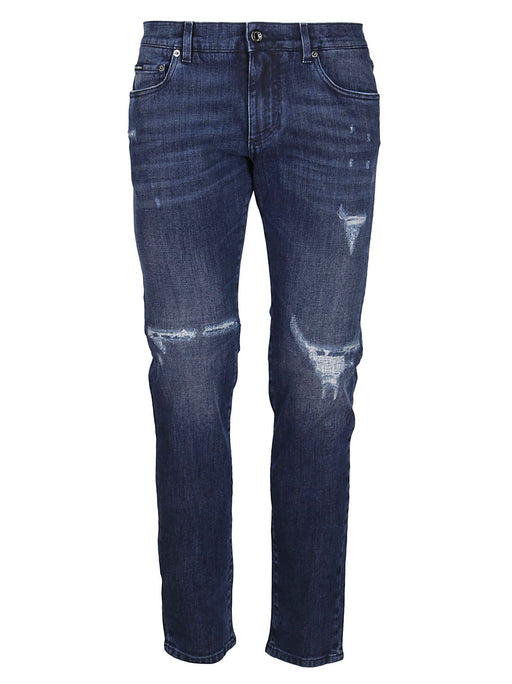 DOLCE & GABBANA MEN'S RIPPED KNEE JEANS