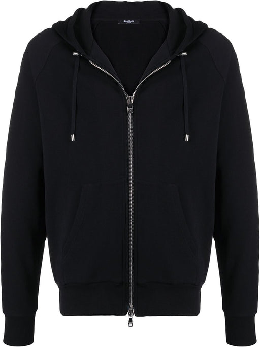 BALMAIN MEN'S EMBOSSED LOGO-PANEL ZIPDOWN HOODY