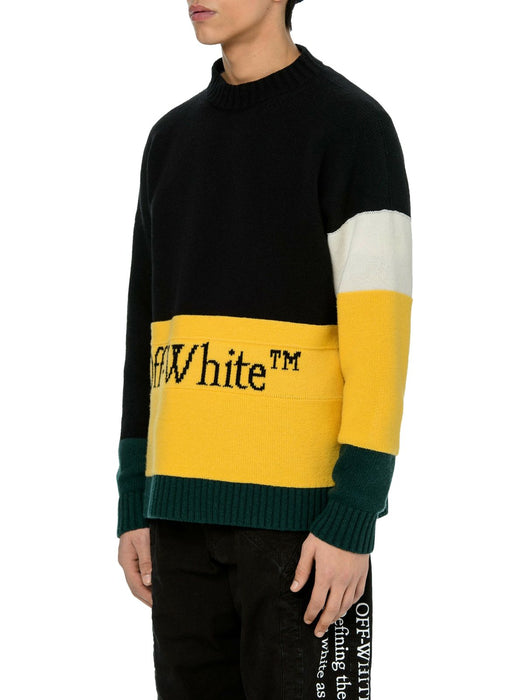 OFF-WHITE MEN'S COLOR BLOCK WOOL SWEATER