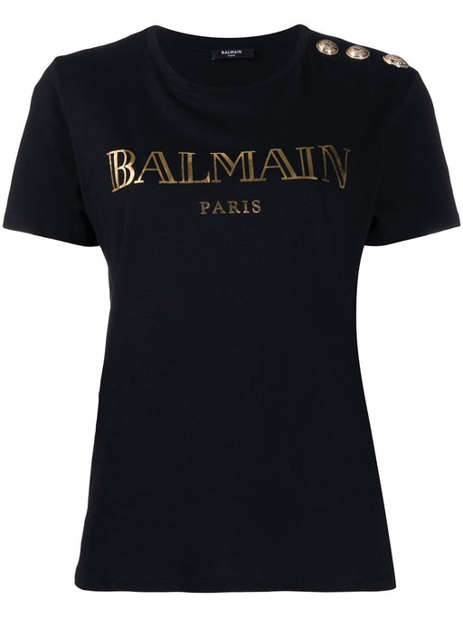 BALMAIN WOMEN'S BLACK COTTON T-SHIRT WITH BRONZE METALLIC PRINT