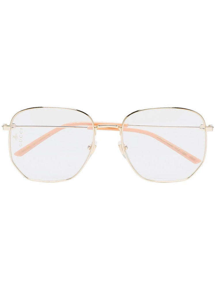 GUCCI WOMEN'S LARGE GOLD FRAME SUNGLASSES