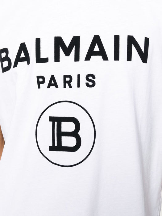 BALMAIN MEN'S WHITE COTTON T-SHIRT WITH BLACK LOGO