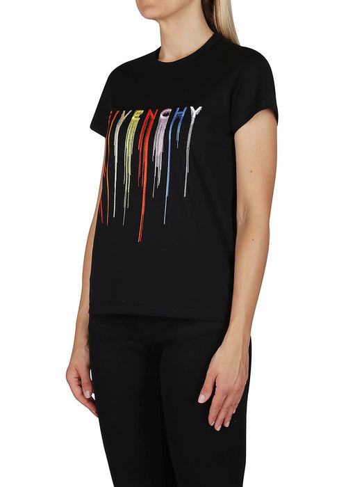 GIVENCHY WOMEN'S MULTICOLORED DRIP PRINT T-SHIRT