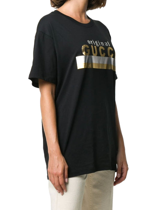 GUCCI WOMEN'S GOLD PRINT  COTTON T-SHIRT