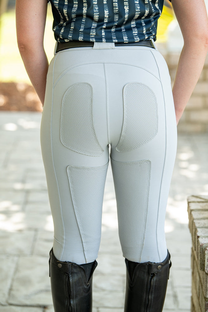 PerforMAX Zip Front FITS breeches Full Seat Dove Gray leather patches show breeches