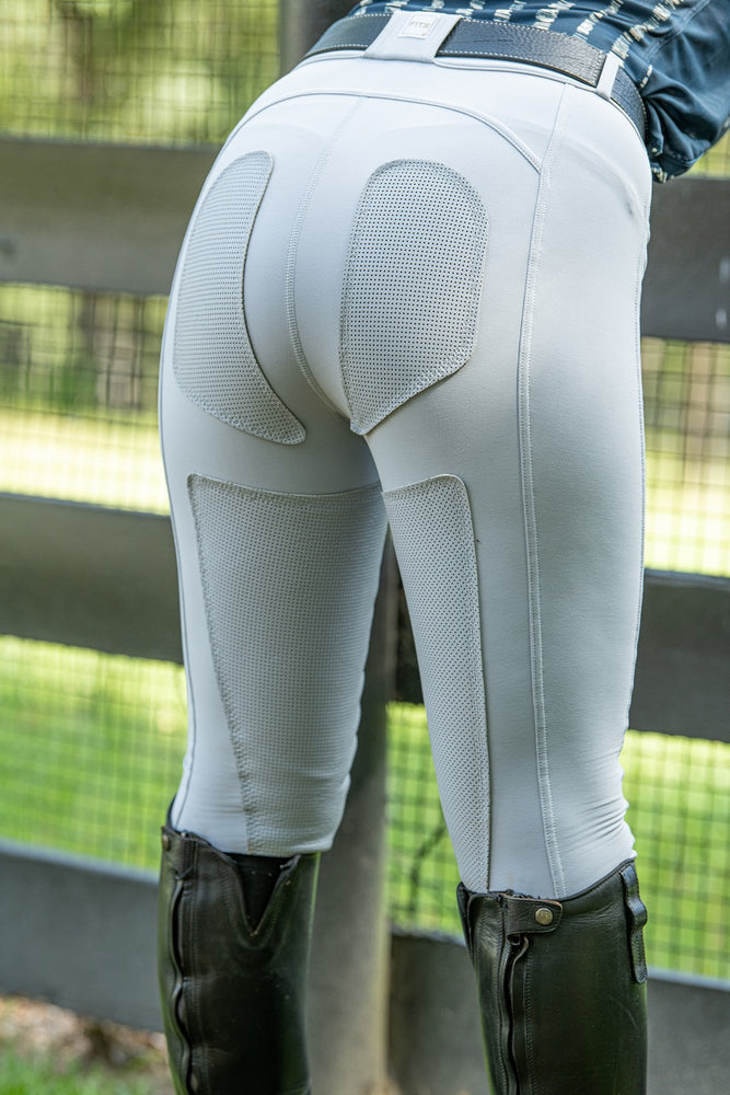 FITS PerforMAX full seat breeches zip front slash pockets comfort dove gray
