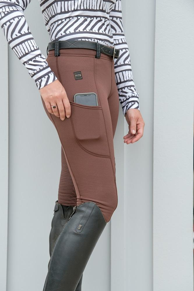 A630-1 FITS ThermaMAX winter fall breeches Espresso chocolate brown comfort thick reflective belt loops