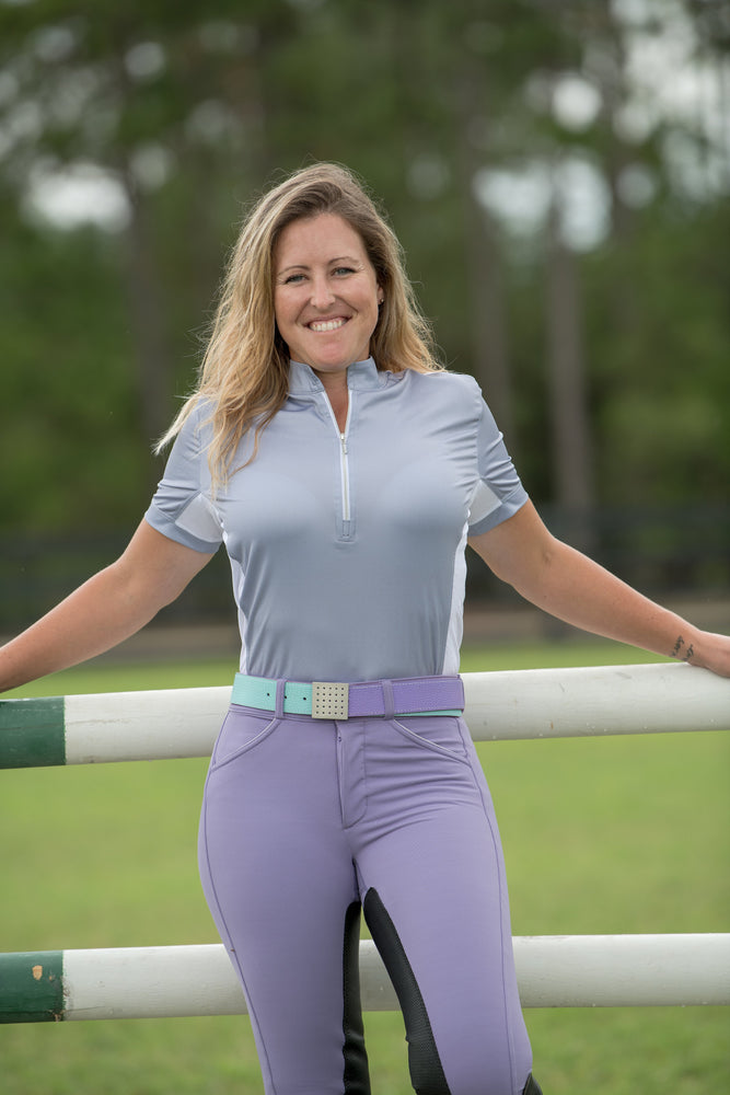 PerforMAX Full Seat Leather Breech Zip Front Slash Pockets silver piping purple haze bling
