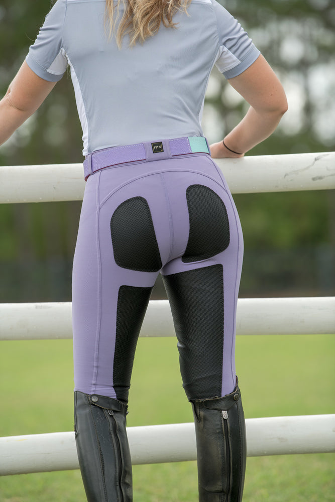 PerforMAX Full Seat Leather Breech Zip Front Slash Pockets purple haze