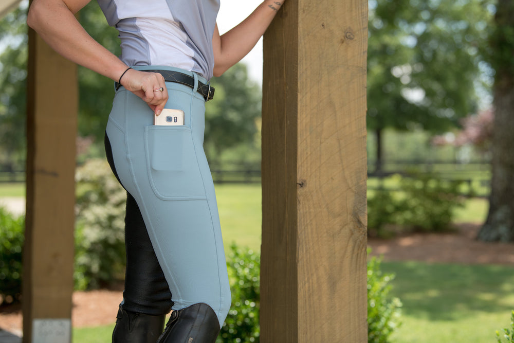 PerforMAX All Season Full Seat Pull On Breech cell phone pocket storm leather grip Pocket