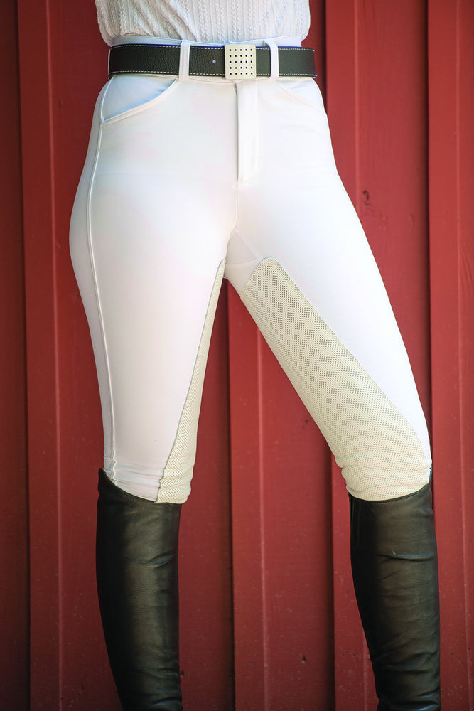 PerforMAX Zip Front Slash Pocket Full Seat Breech - 10% Thicker White