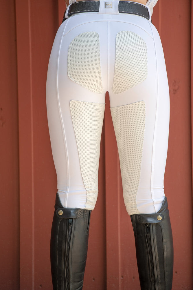 FITS PerforMAX White Front Zip Full Seat Breech has a gusseted crotch and is made of compression fabric