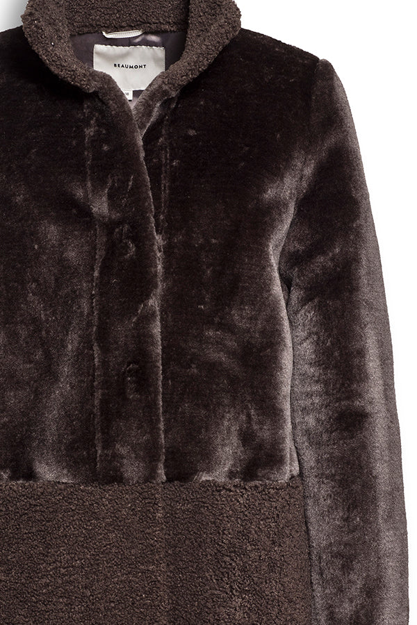 FUR WOOL MIX COAT