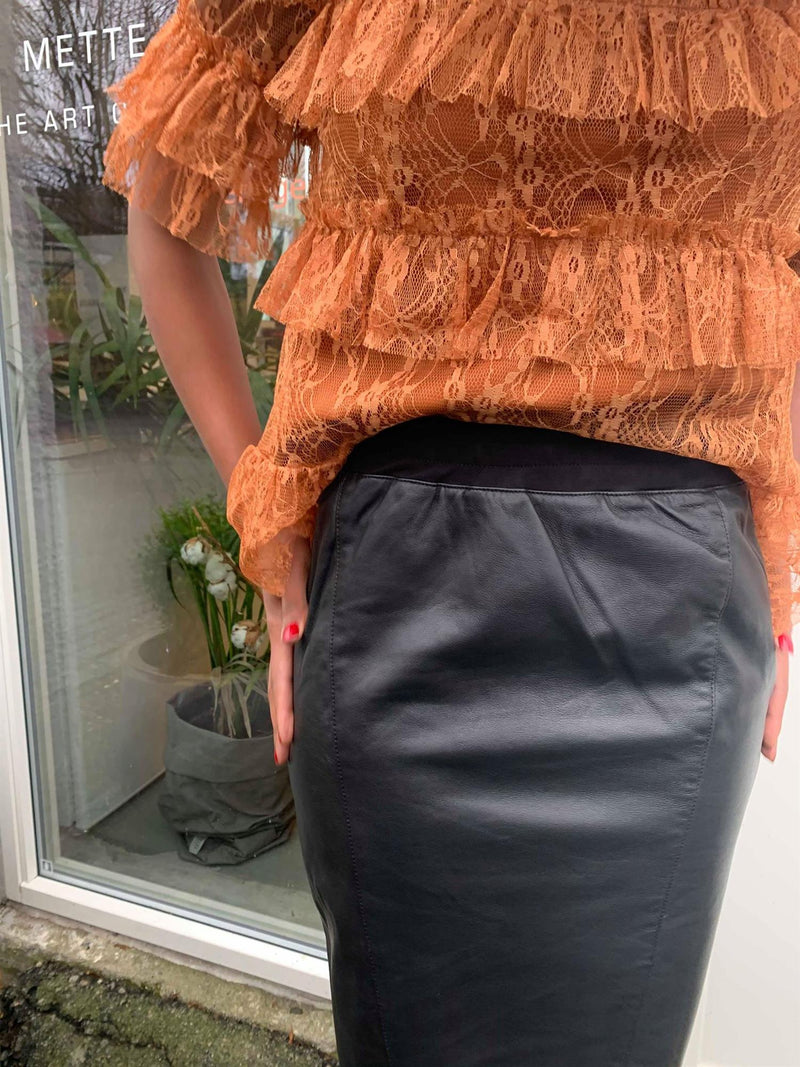 SKIRT IN LEATHER W JERSEY BACK